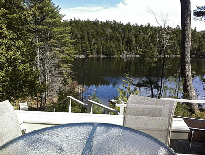 Pine Bluff Hodgdon Pond Seal Cove Maine View from Deck