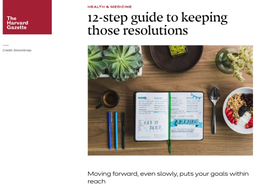 Harvard Gazette on Keeping New Years Resolutions